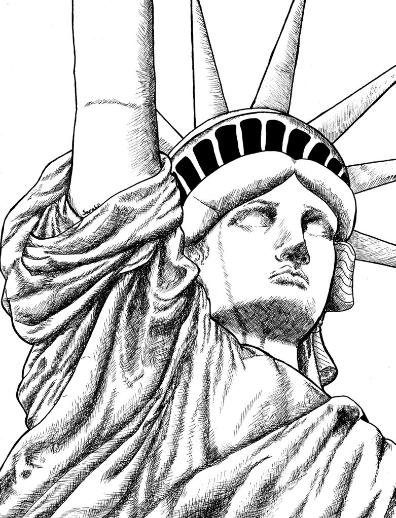 Drawn statue of liberty outline Of Liberty Outline Picture for