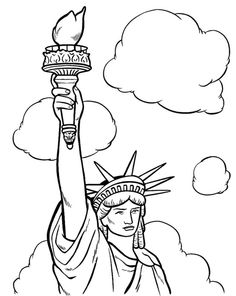 Drawn statue of liberty outline Outline it Use green? for
