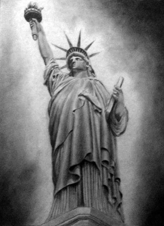 Drawn statue of liberty sculpture Of by The Spartan Liberty
