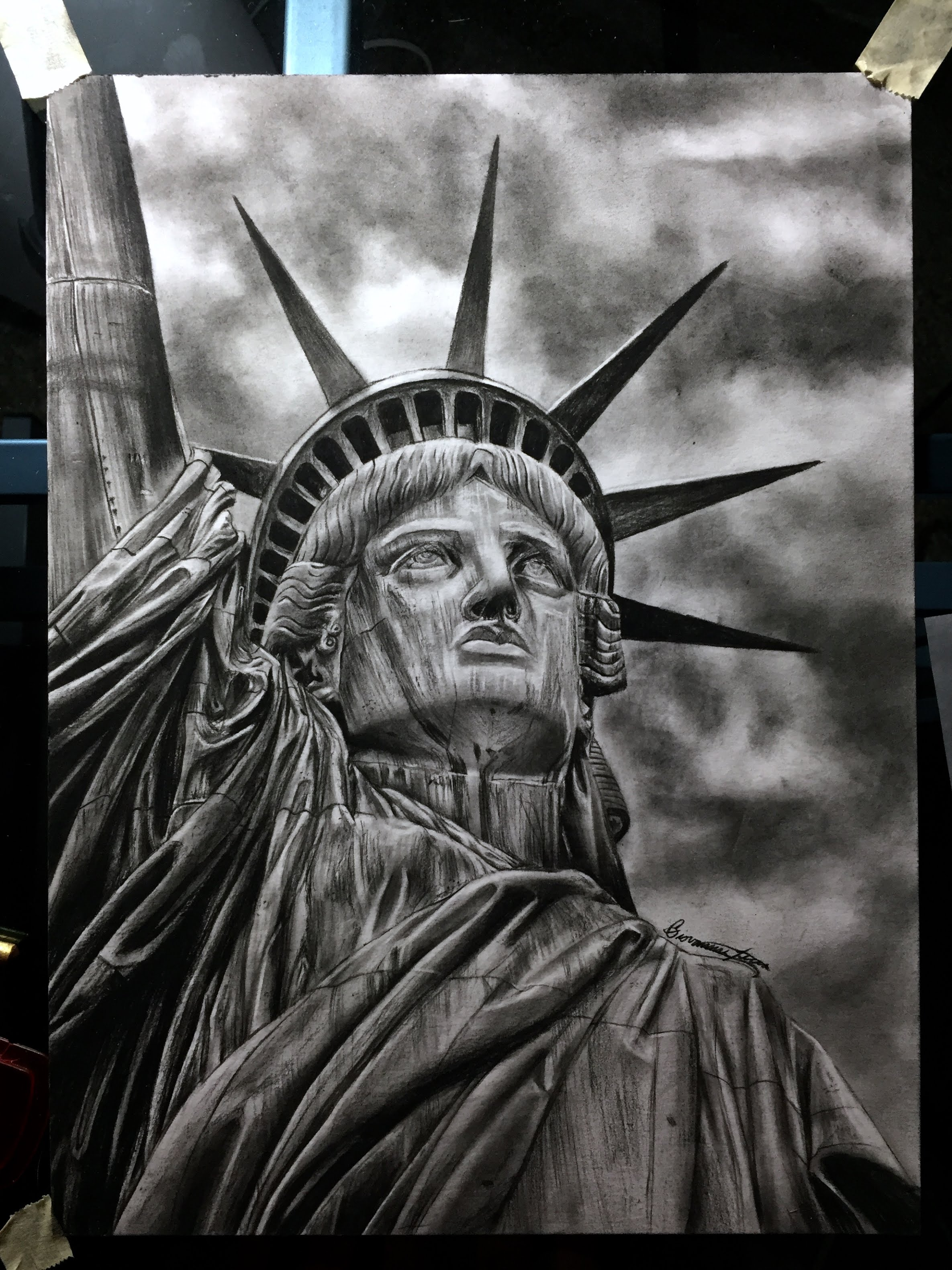 Drawn statue of liberty sculpture Most Drawing Statue YouTube The