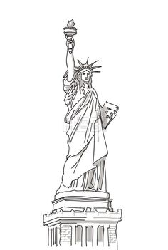 Drawn statue of liberty sculpture Liberty Drawn of Work Brothers