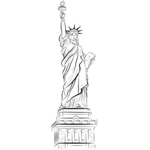 Drawn statue of liberty sculpture Of in usa in statue