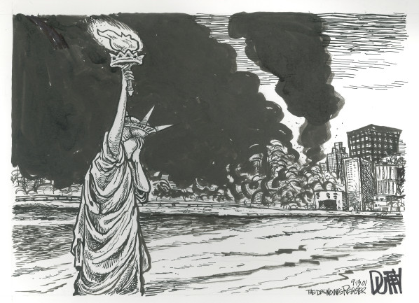 Drawn statue of liberty september 11 Statue of New of burn