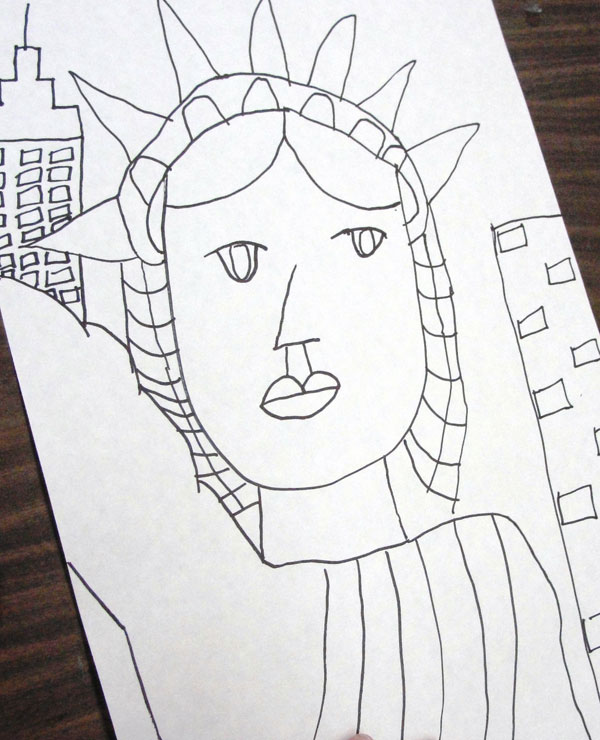 Drawn statue of liberty simple Statue Drawing  Of Liberty