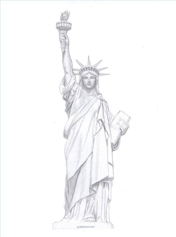 Drawn statue of liberty simple (with Statue Library Pictures) Draw