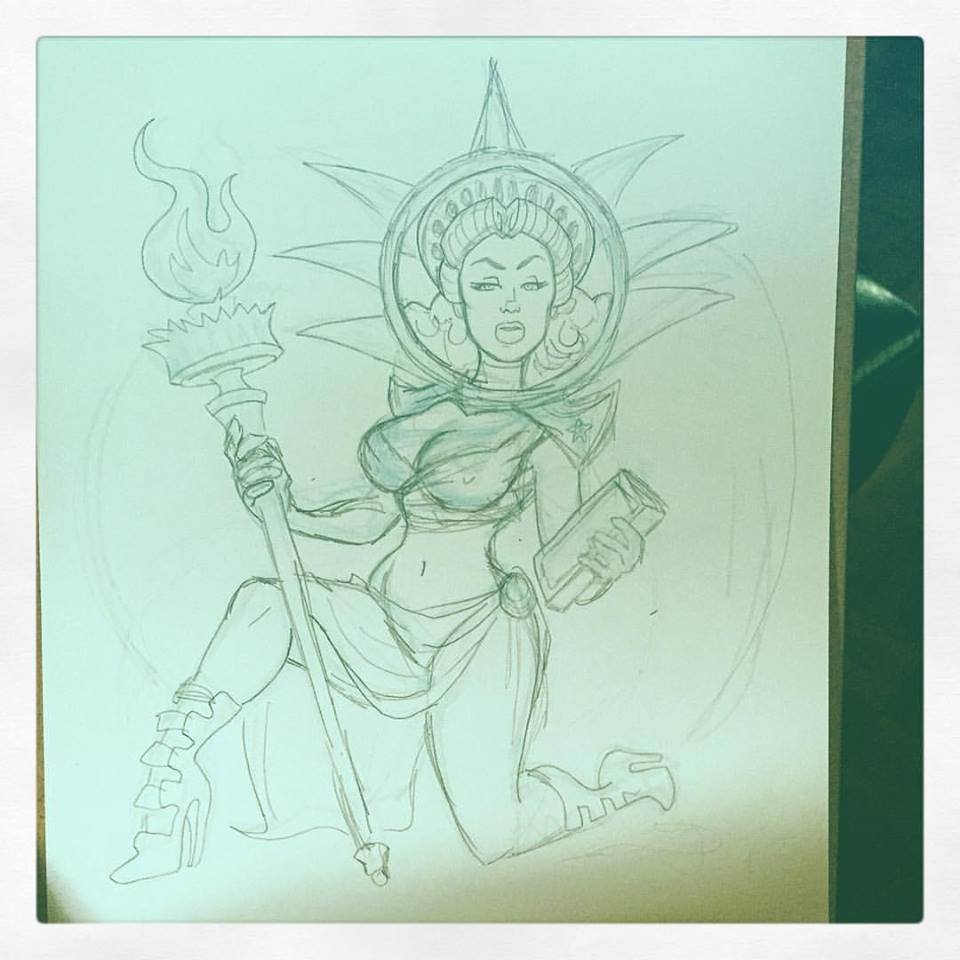 Drawn statue of liberty tablet After Art Paigey: posing 2016