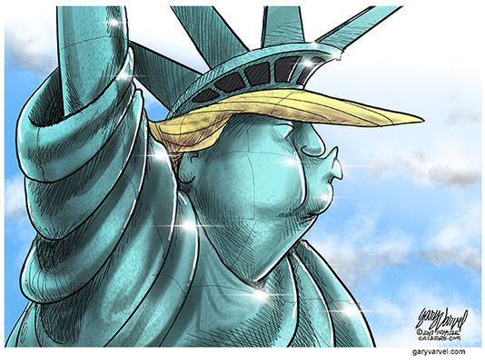Drawn statue of liberty tablet  Liberty Varvel: Cartoonist of