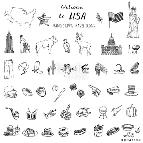 Drawn statue of liberty united states USA USA Hand United elements