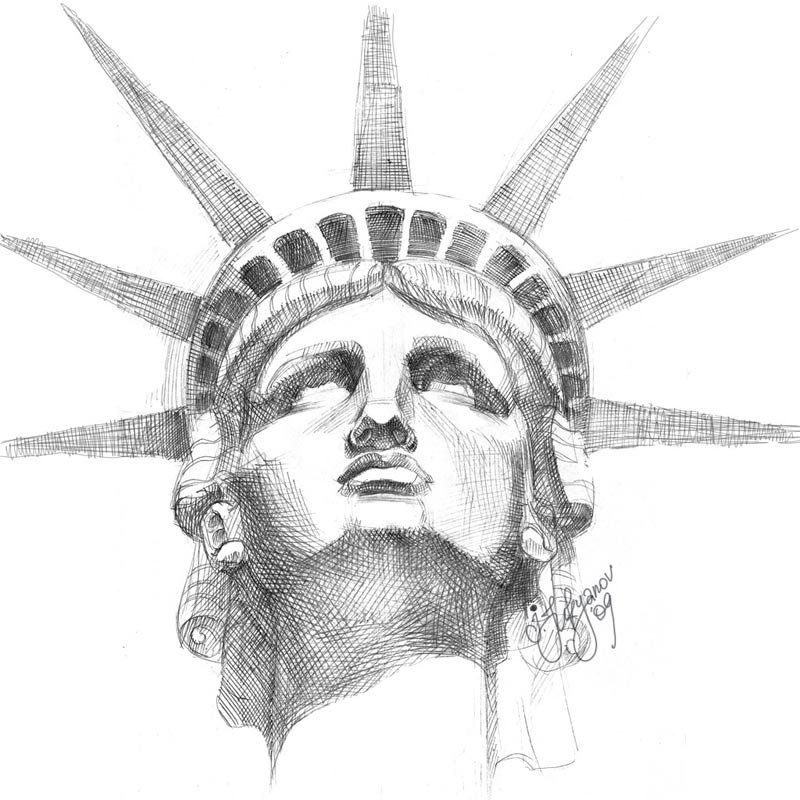 Drawn statue of liberty united states City and Monument of Liberty
