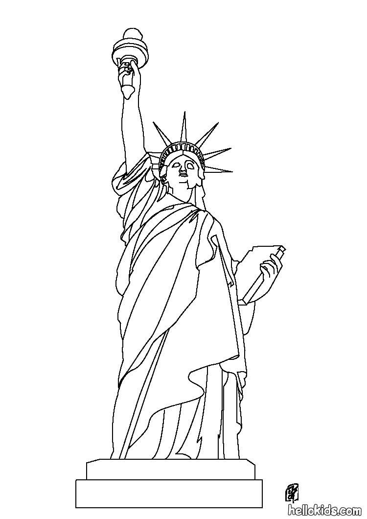 Drawn statue of liberty united states Coloring Hellokids com of Liberty