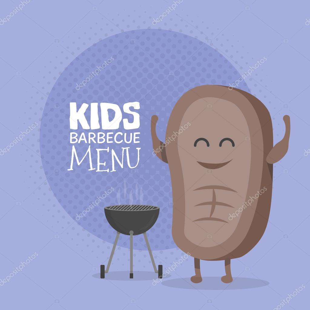 Drawn steak cute Cardboard character restaurant menu character