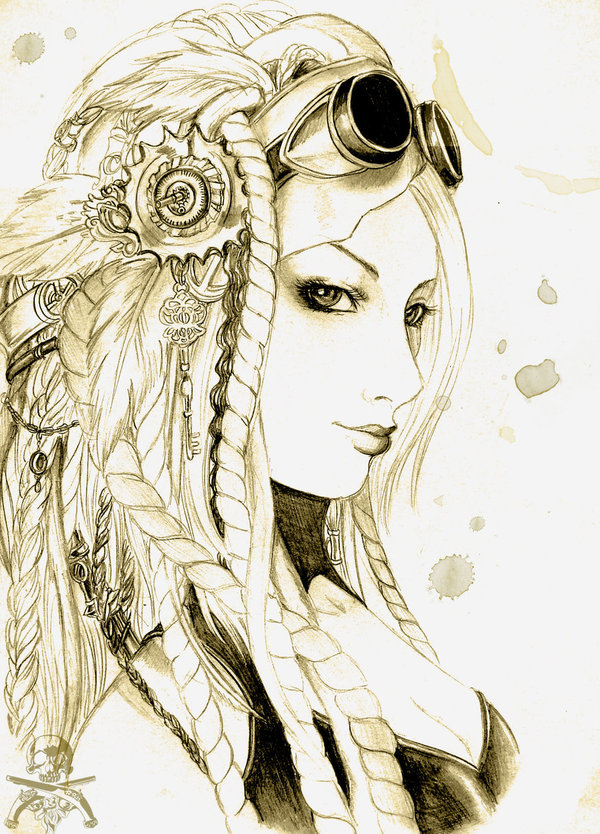 Drawn steampunk face Nice by by flowing lines