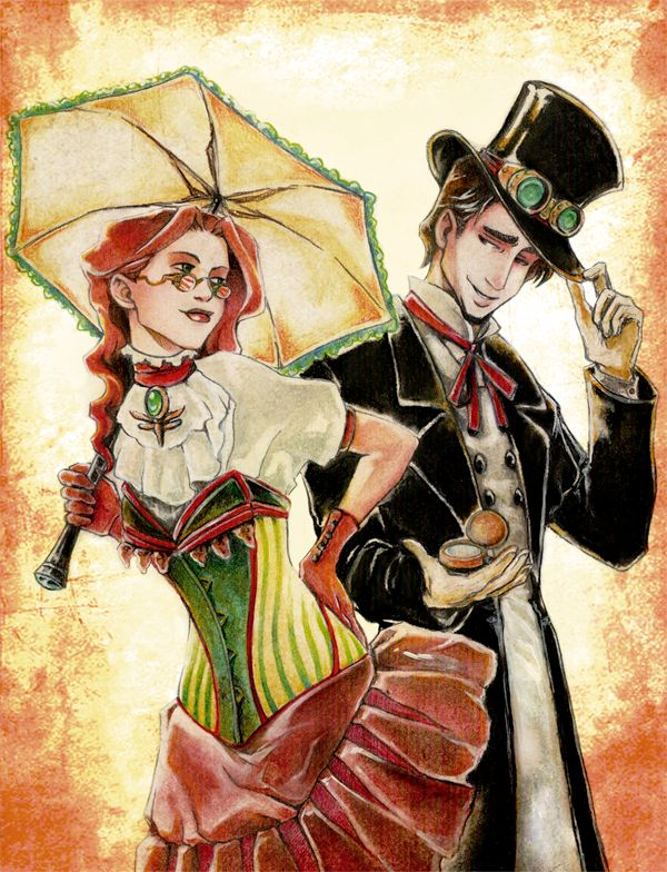 Drawn steampunk couple Couple Mintonia Steampunk on Art