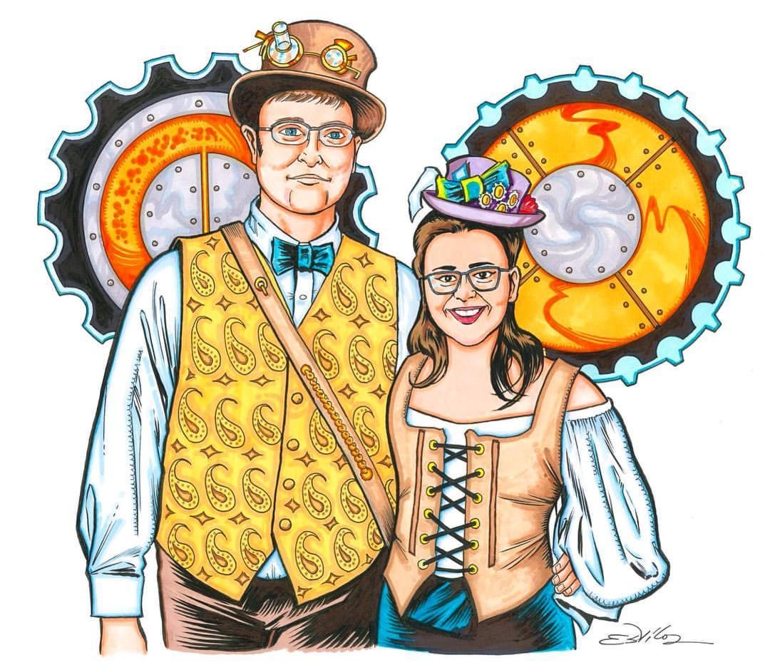 Drawn steampunk couple × Estiloz  Art Tim