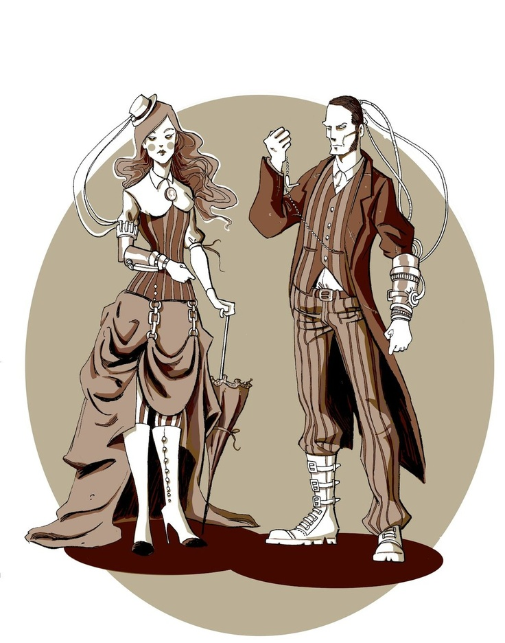 Drawn steampunk couple Couple BrandyAlexander Steampunk on Art