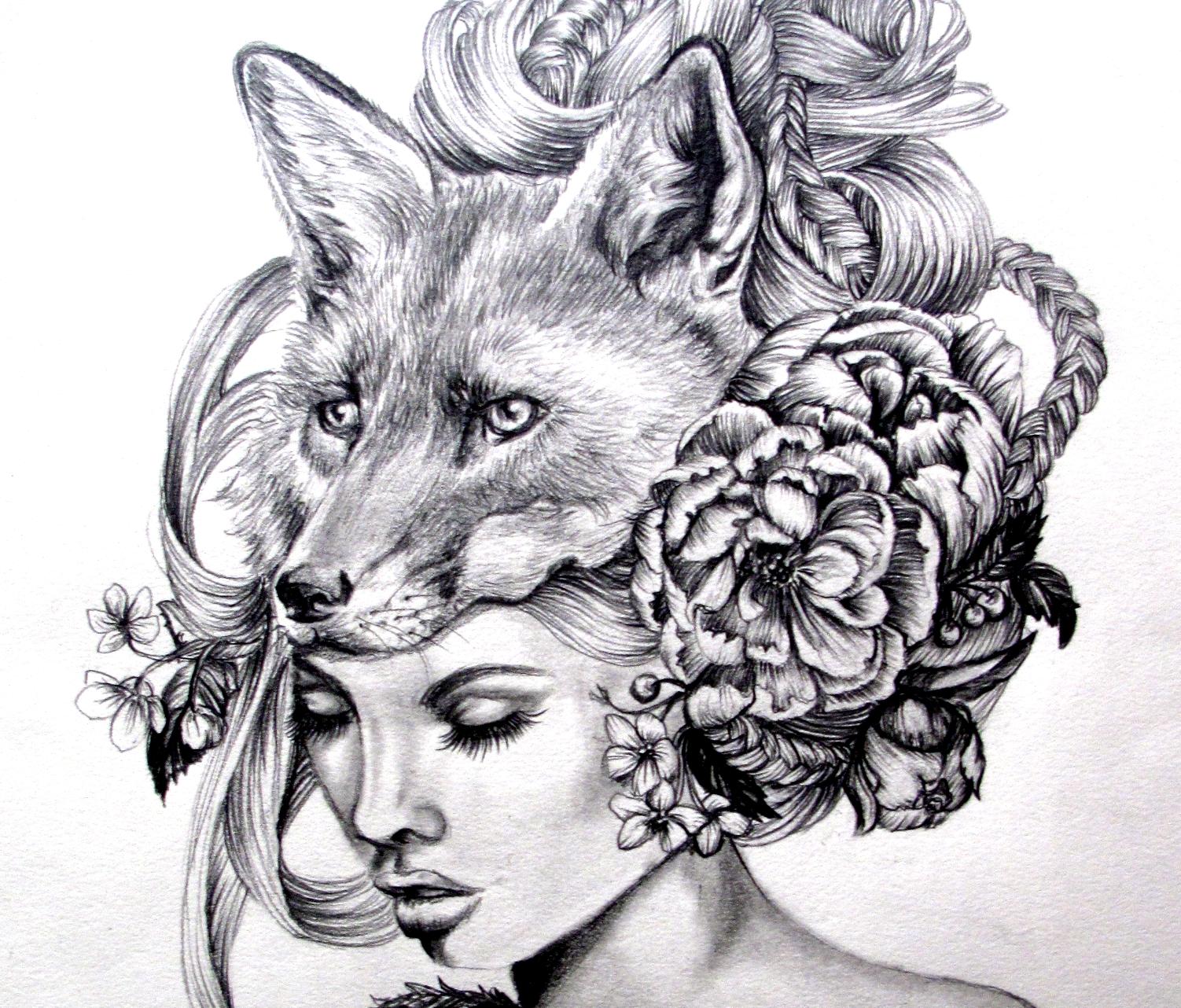 Drawn steampunk headdress Fox portrait mask and woman