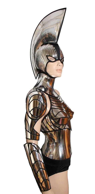 Drawn steampunk headdress Mask steampunk armor warrior cyber