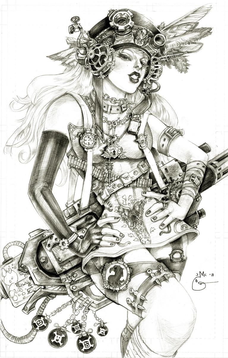Drawn steampunk headdress The DubuGomdori Moon by 45