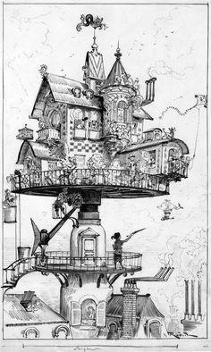 Drawn steampunk house A Tree Pinned HouseSteampunk Steampunk