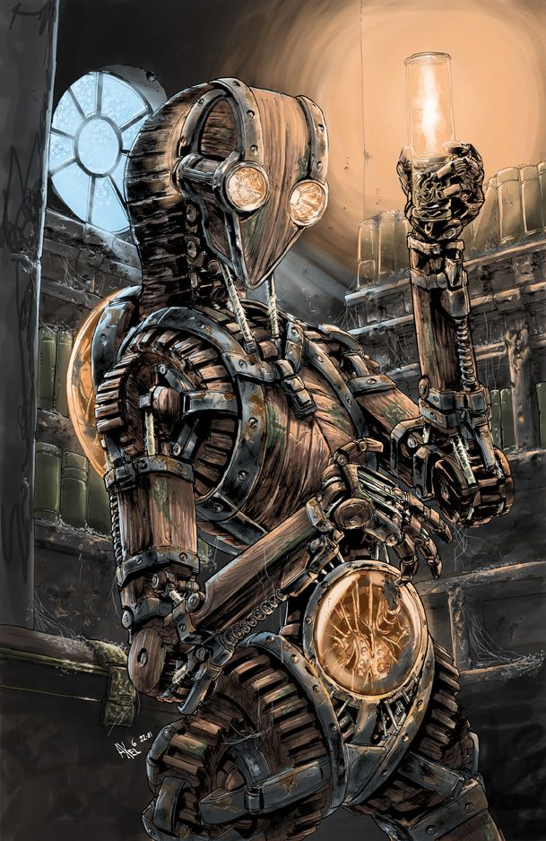 Drawn steampunk human robot #gosstudio best #Art robot AxelMedellin