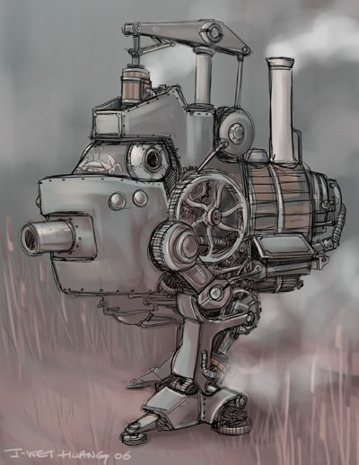 Drawn steampunk human robot How Machines Steampunk  draw