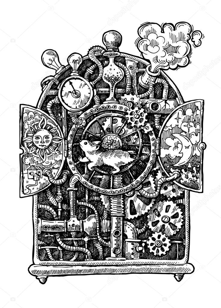 Drawn steampunk time machine Hand mechanism Beautiful time —
