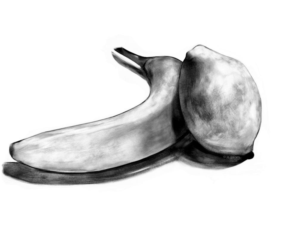 Drawn still life Lemon Banana Likhita and Journal