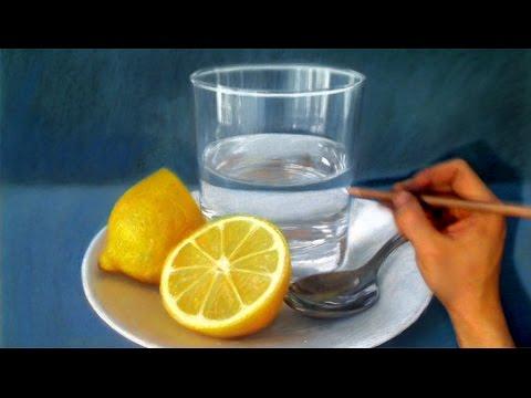 Drawn still life /spoon Realism glass lemon water