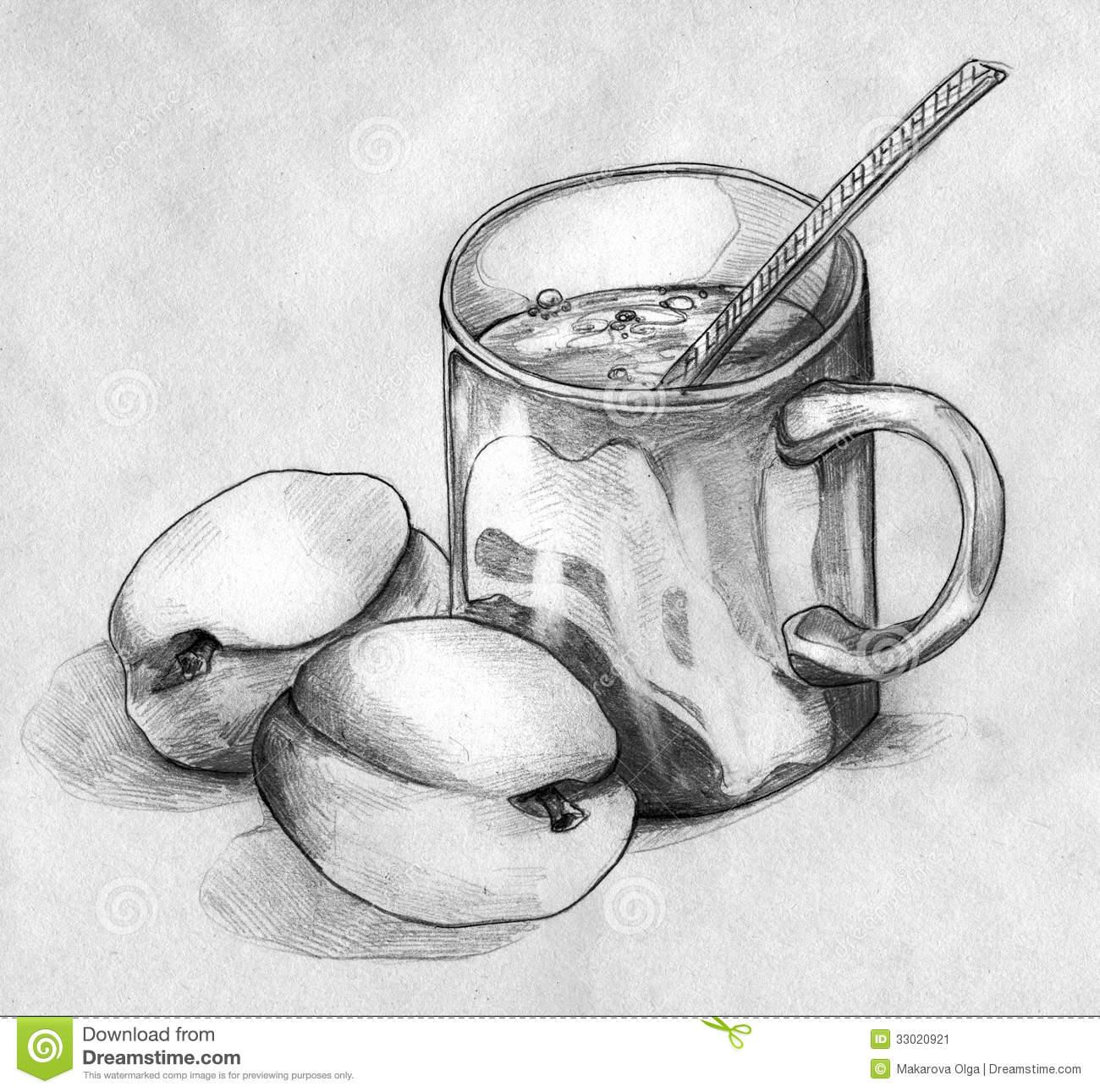 Drawn still life Tea mug spoon coffee still