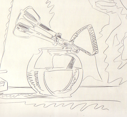 Drawn still life andy warhol Drawing Warhol Andy line drawing