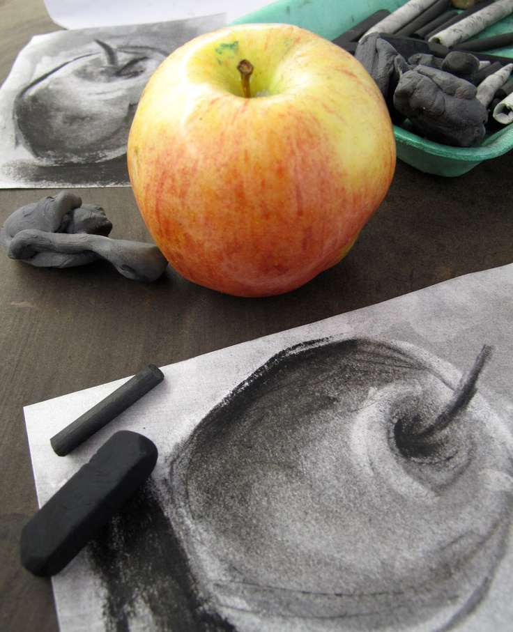 Drawn apple still life #14