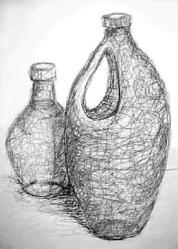 Drawn still life art On lesson using the drawings