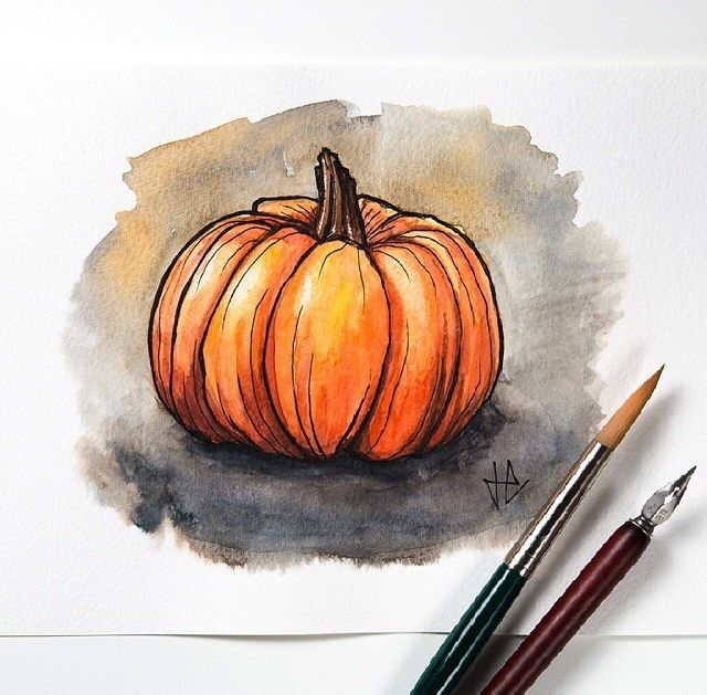 Drawn still life autumn Watercolor Pinterest drawing on Pumpkin