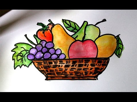 Drawn still life creative In to a basket basket