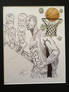Drawn still life basketball Lakers James James drawing eBay