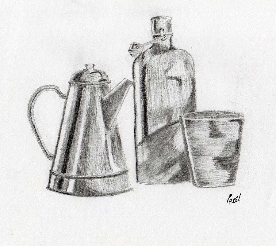 Drawn still life charcoal pencil Patel by Bav Still Drawing