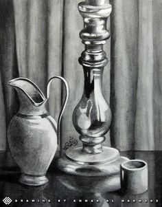Drawn still life charcoal pencil /Painting Water (Part of of