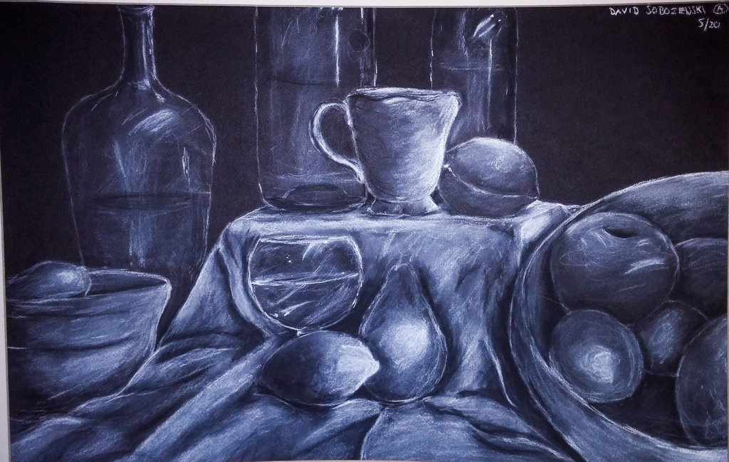 Drawn still life charcoal pencil Davidsobo White Charcoal Still in