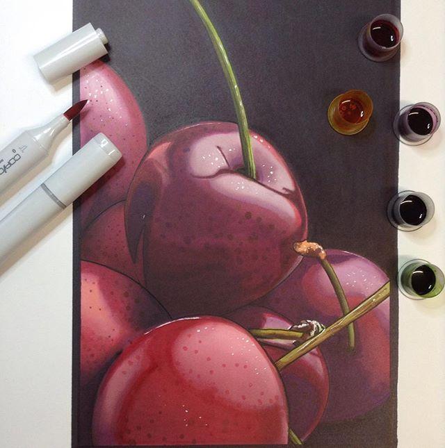 Drawn still life cherry Drawing end Best when Pinterest