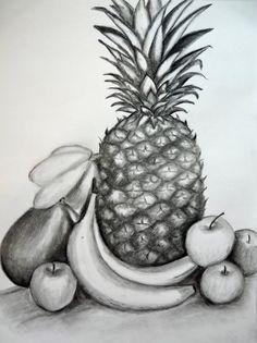 Drawn still life cherry  apple grade a an