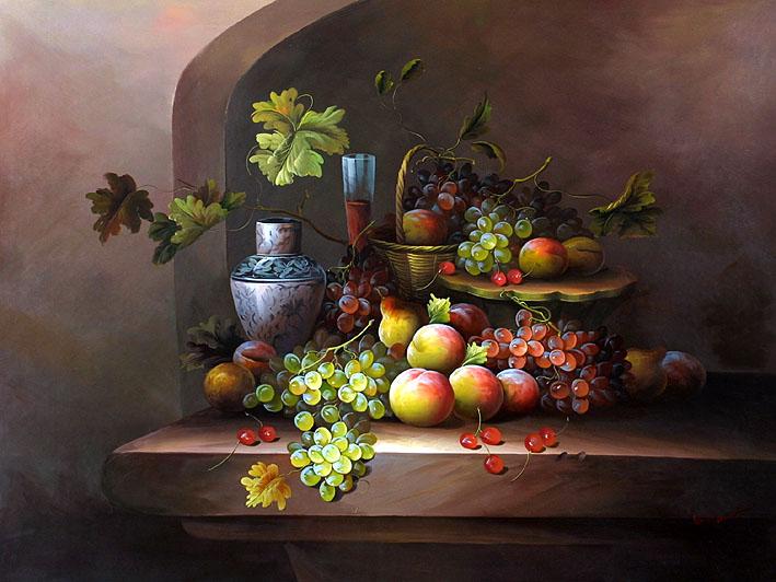 Drawn still life classic Fruit  Life Still oil