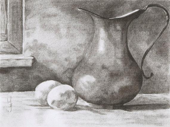 Drawn still life classic Original Realism Drawing Charcoal Life