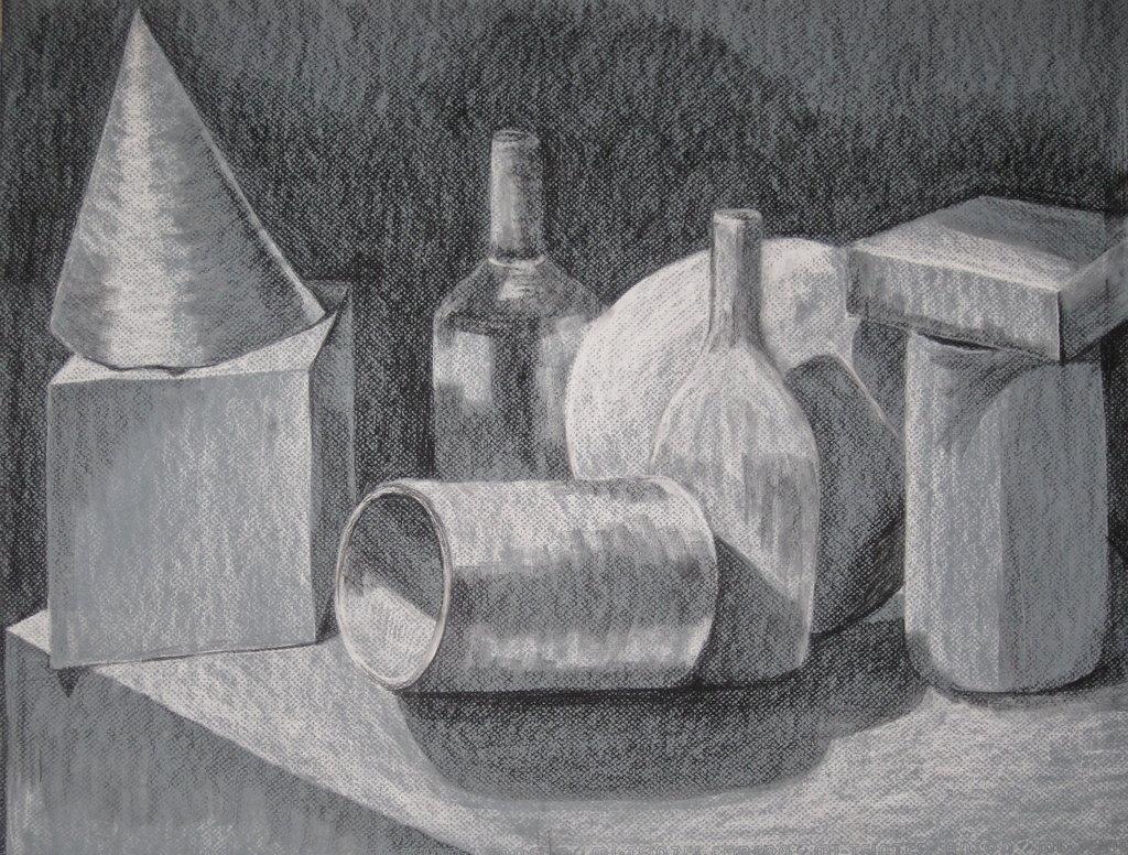 Drawn still life conte crayon Uno Drawing on Still Life