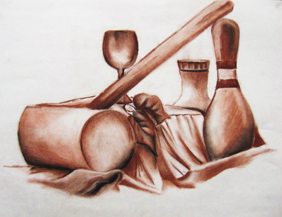 Drawn still life conte crayon The Today's serves Today few