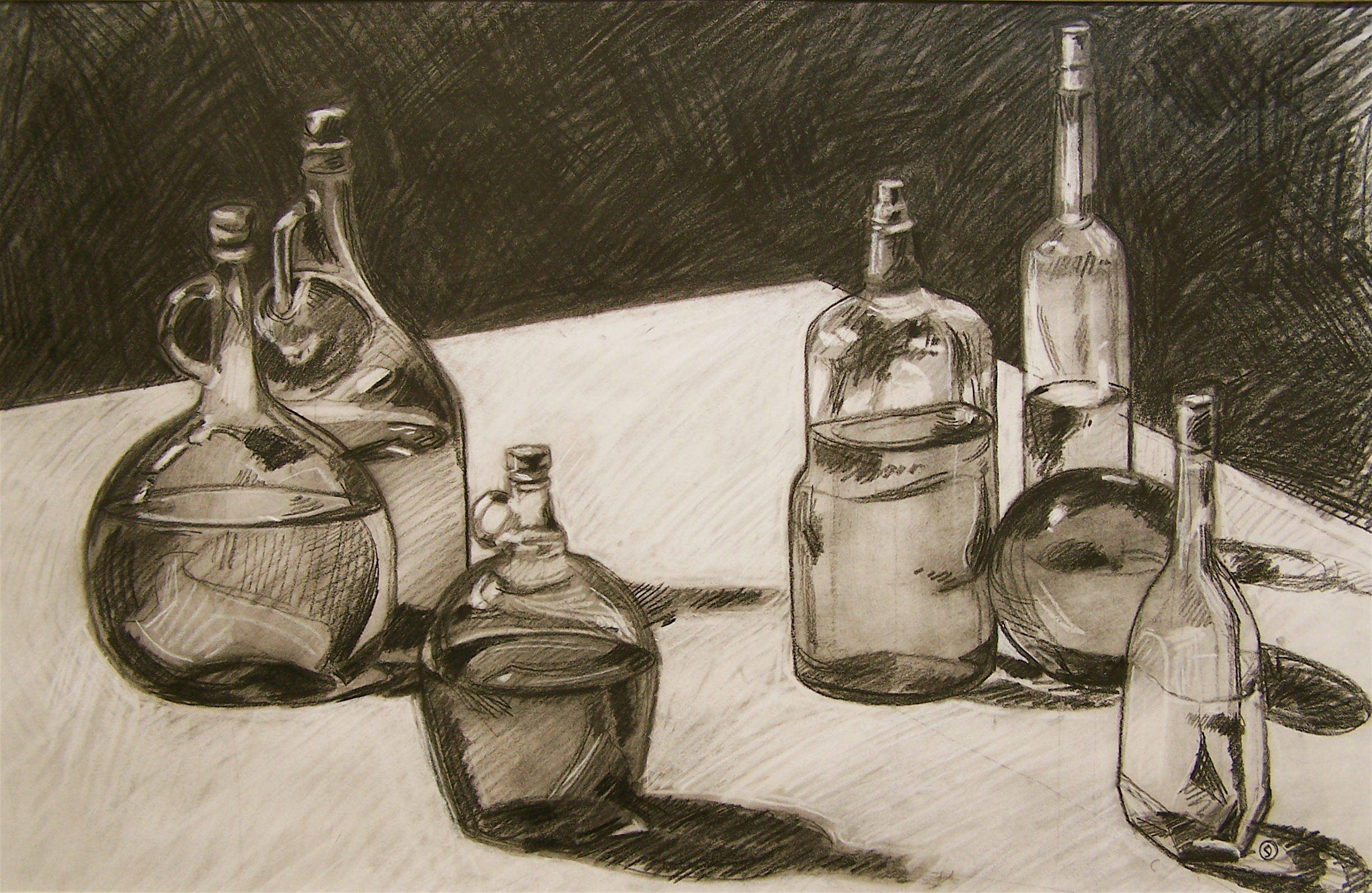 Drawn still life conte crayon  – Eric Painting A