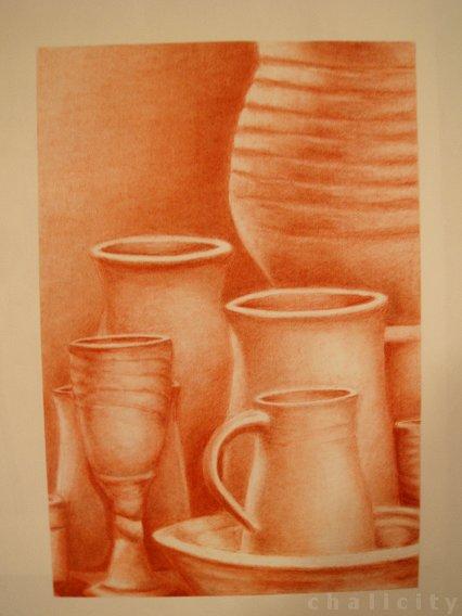 Drawn still life conte crayon Chalicity conte still life conte