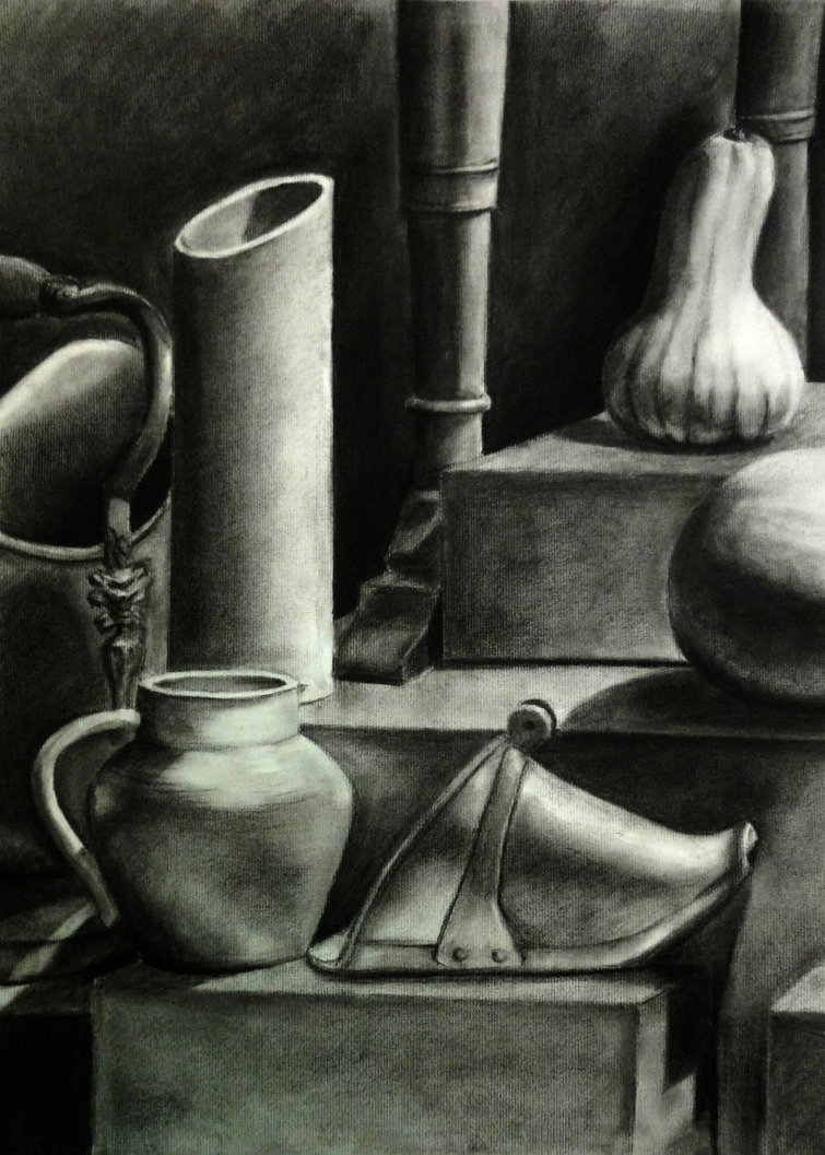 Drawn still life graphite Charcoal Charcoal Life Drawing Life