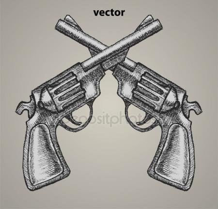 Drawn still life gun Royalty drawn Retro Beretta Gun