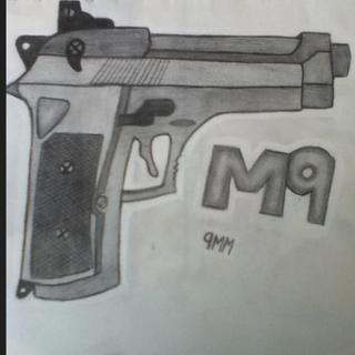 Drawn still life gun Something something I knocked knocked
