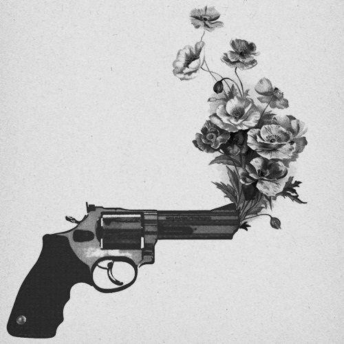 Drawn still life gun Gun and rose great on